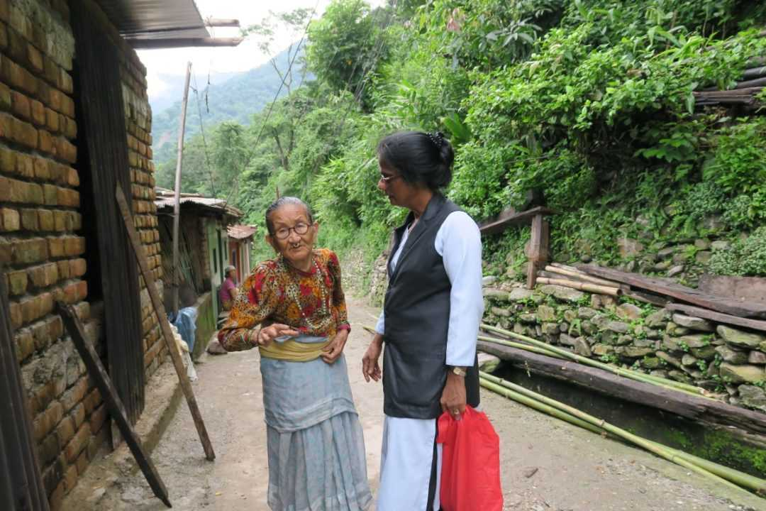 Sister Marina Thazhathuvettil traveling for her medical ministry in Nepal