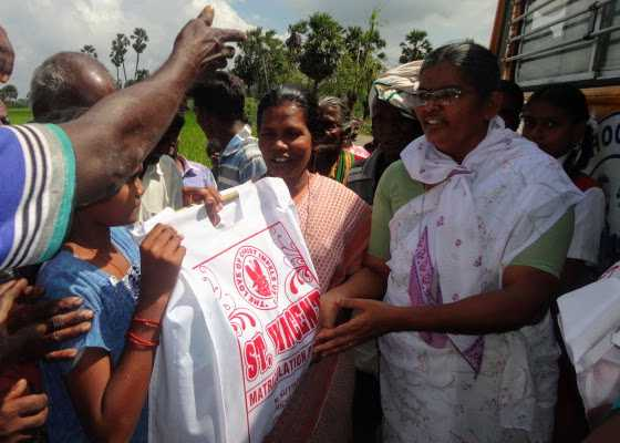 Sisters give relief after cyclone